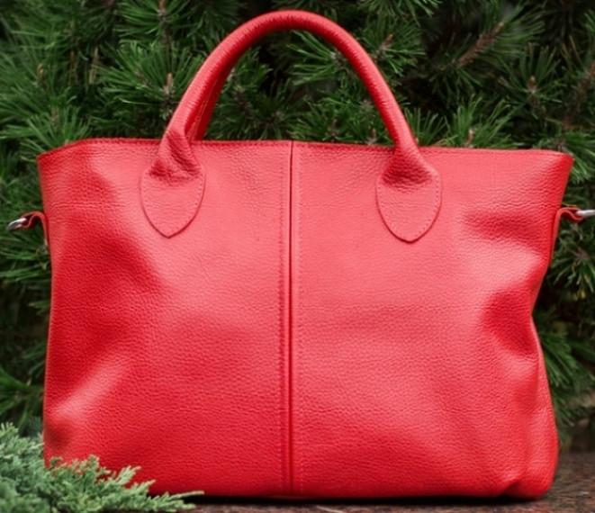 Кожаная сумка красного цвета из натуральной кожи