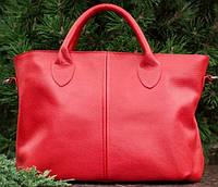 Кожаная сумка красного цвета из натуральной кожи, фото 1