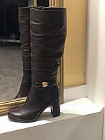 СКИДКА! Кожаные коричневые сапоги с натуральной кожи на очень удобном каблуке