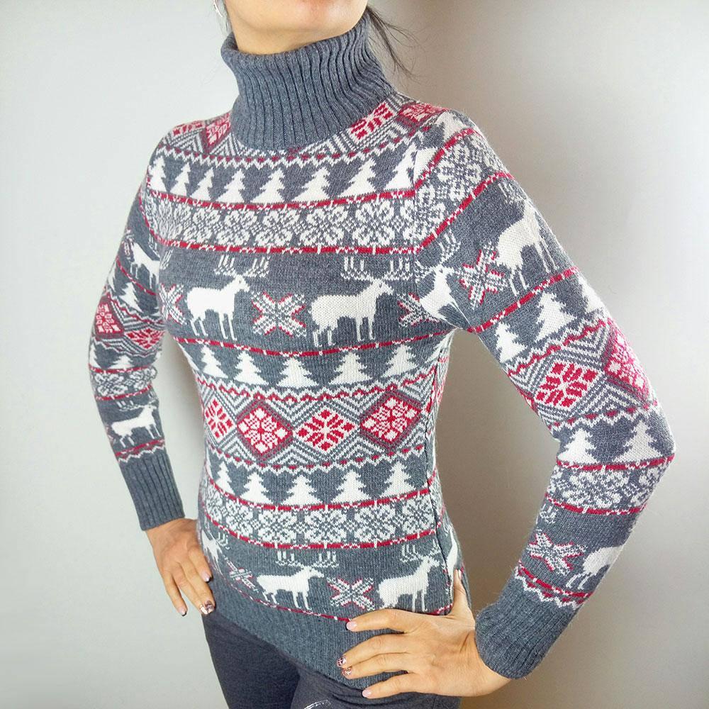 Женский свитер с оленями Gerekli B4606 серый Турция 44-46  продажа ... 13b48e681395b