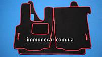 Автомобильные велюровые ковры в кабину для DAF XF 95 механика красные