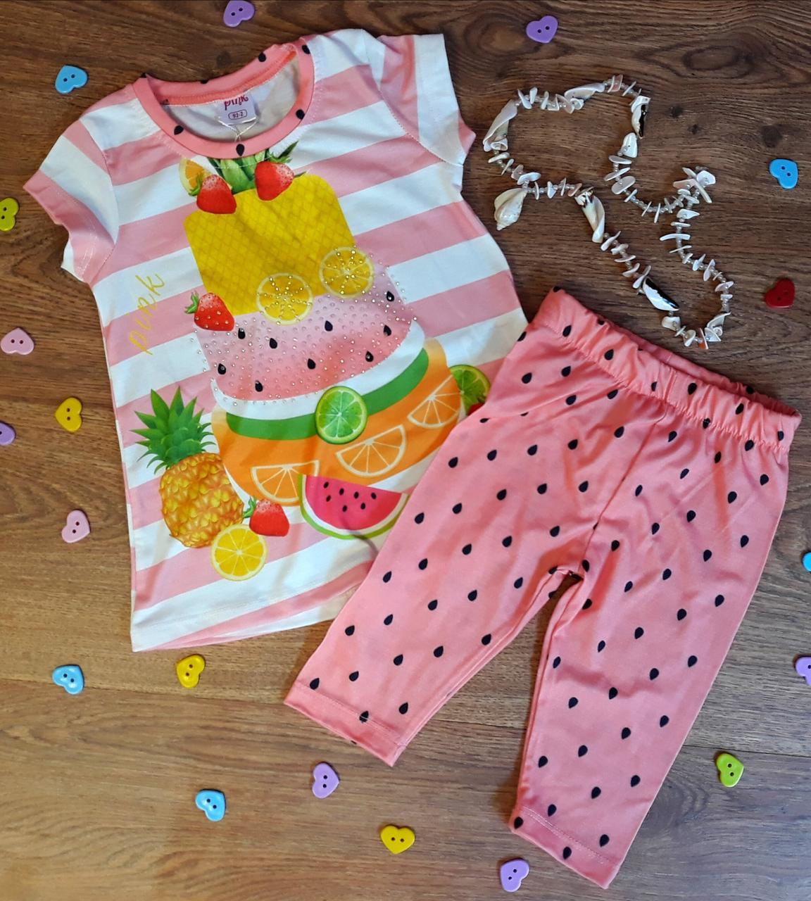 Комплект для девочек Футболка+шорты Тортик и фрукты, размер 104, розовый хлопок 9442 Турция