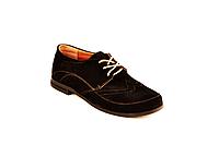 Туфли для девочки школьные шнуровка замша черный 732119
