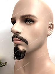 Реалистичная накладная борода🧔 и усы (чёрная щетина) Стиль 2 (усы и борода)