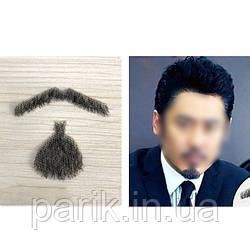 Реалистичная накладная борода🧔 и усы (чёрная щетина) Стиль 5 (усы и борода)