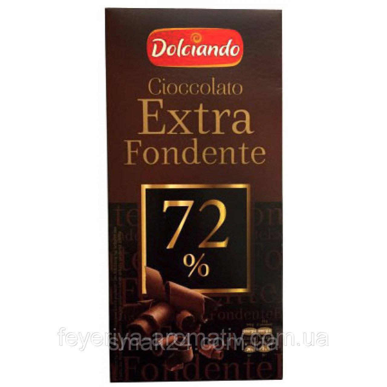 Шоколад Экстра черный Dolciando Cioccolato Extra Fondente 72%, 100 г Италия