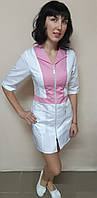 Женский медицинский коттоновый халат на молнии три четверти рукав, фото 1