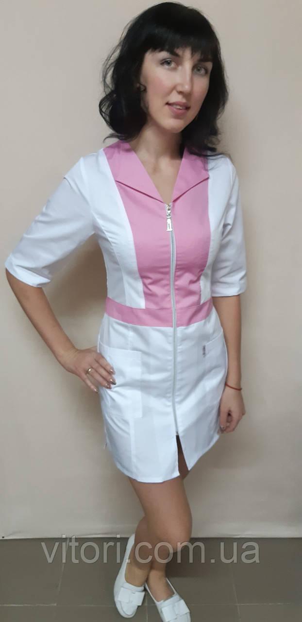 Женский медицинский коттоновый халат на молнии три четверти рукав