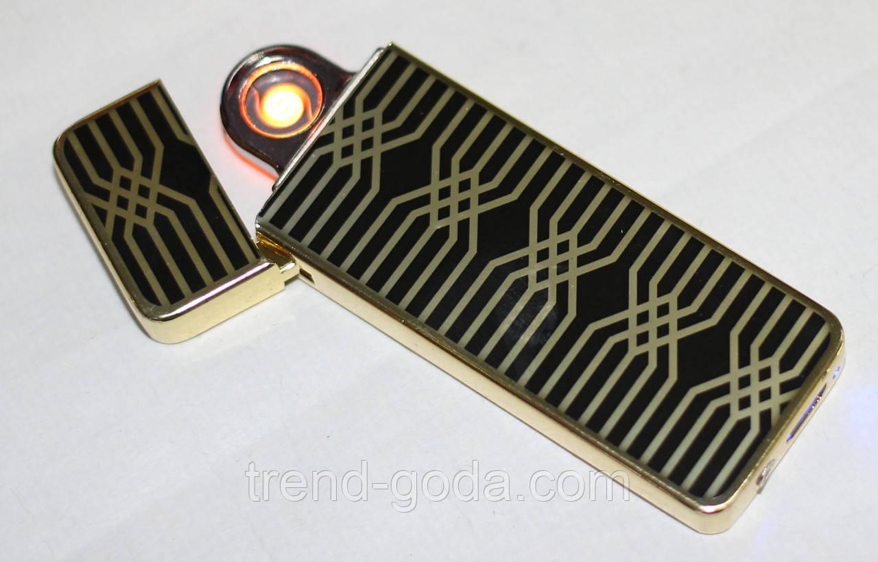 Электроимпульсная зажигалка с USB зарядкой, черная с золотистым