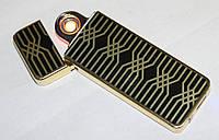 Электроимпульсная зажигалка с USB зарядкой, черная с золотистым, фото 1