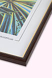 Рамка 13х13 из пластика - Коричневый тёмный с золотом - со стеклом, фото 2
