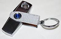 Электроимпульсная зажигалка-брелок с USB зарядкой, серебристая, фото 1