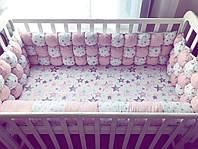"""Бортики в кроватку БомБон """"Розовые точка на розовом + розовые и серые звезды на белом"""""""
