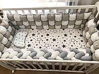 """Бортики в кроватку БомБон """"Белые звезды на сером + серебристые звезды на белом"""""""