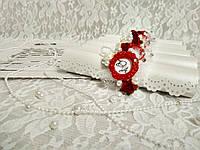 Именные приглашения на свадьбу Monogram (бело-красные)