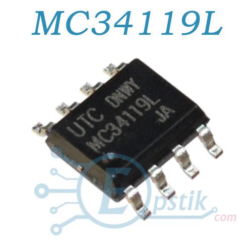 MC34119L, аудио усилитель низковольтный, 2-16В, SOP8