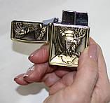 Запальничка кишенькова газова, золотиста з орлом, фото 5