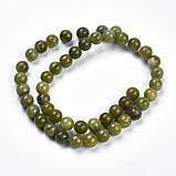 Нефрит природный бусина 8мм зеленый для рукоделия, фото 3