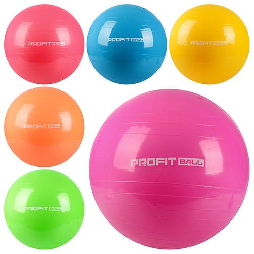Мяч для фитнеса-75см MS 0383  Фитбол, резина, 1100г, 6 цветов, в кульке, 19-14-10см