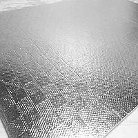 """Экокожа фактурная с узором """"Квадрат"""" на фоамирановой основе, 30х20 см, цвет серебро"""