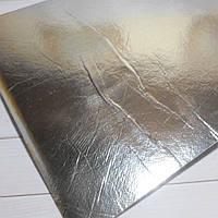Экокожа на фоамирановой основе, 30х20 см, цвет серебро