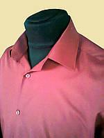 Мужская рубашка бордовая на короткий рукав