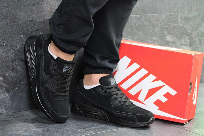 Кроссовки найк эйр макс 90 мужские черные замшевые повседневные (реплика) Nike Air Max 90 Black Suede