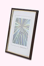 Рамка 15х15 из пластика - Коричневый тёмный с золотом - со стеклом