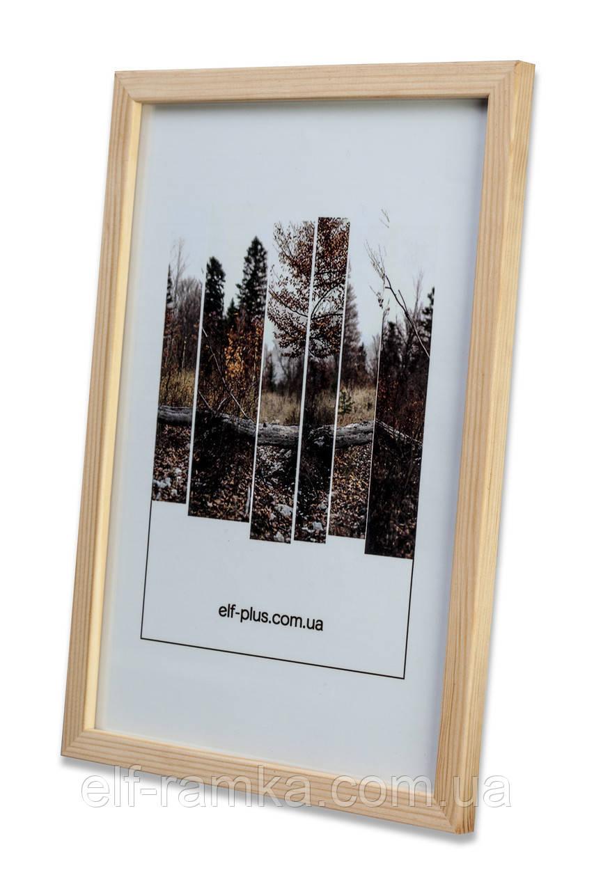 Рамка 15х15 из дерева - Сосна светлая 1,5 см - со стеклом