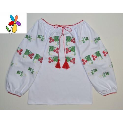 Детская вышиванка Калина красная. Размер 116 - 140