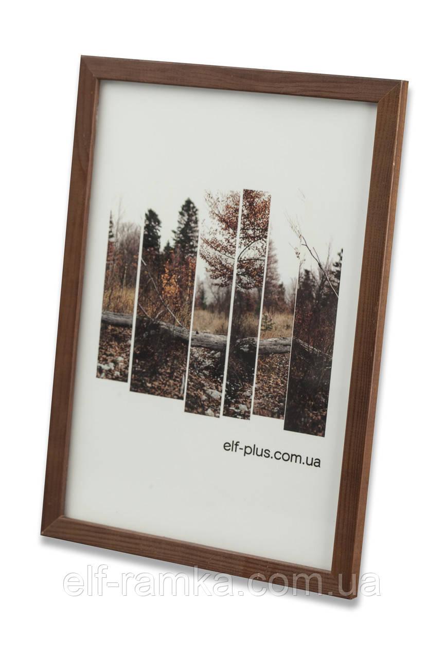 Рамка 15х15 из дерева - Сосна коричневая тёмная 1,5 см - со стеклом