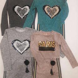 Платье теплое с лампасами для девочек 128-140