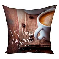 Подушка с принтом 30х30, 40х40, 50х50 I love things that make you (3P_WOL026)