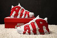 """Мужские кроссовки Nike Air More Uptempo """"White/Red"""" (в стиле Найк Аптемпо) белые с красным, кожа"""