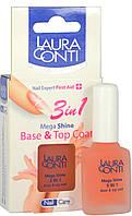 Бальзам для ногтей Laura Conti Супер-блеск 3  в 1 база & верхний слой