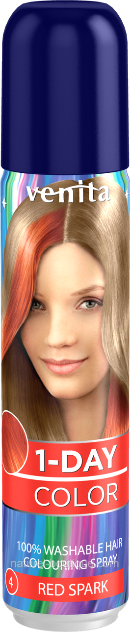 Краска-спрей (цвет на 1 день), оттеночная  для волос Venita 4 Красная искра