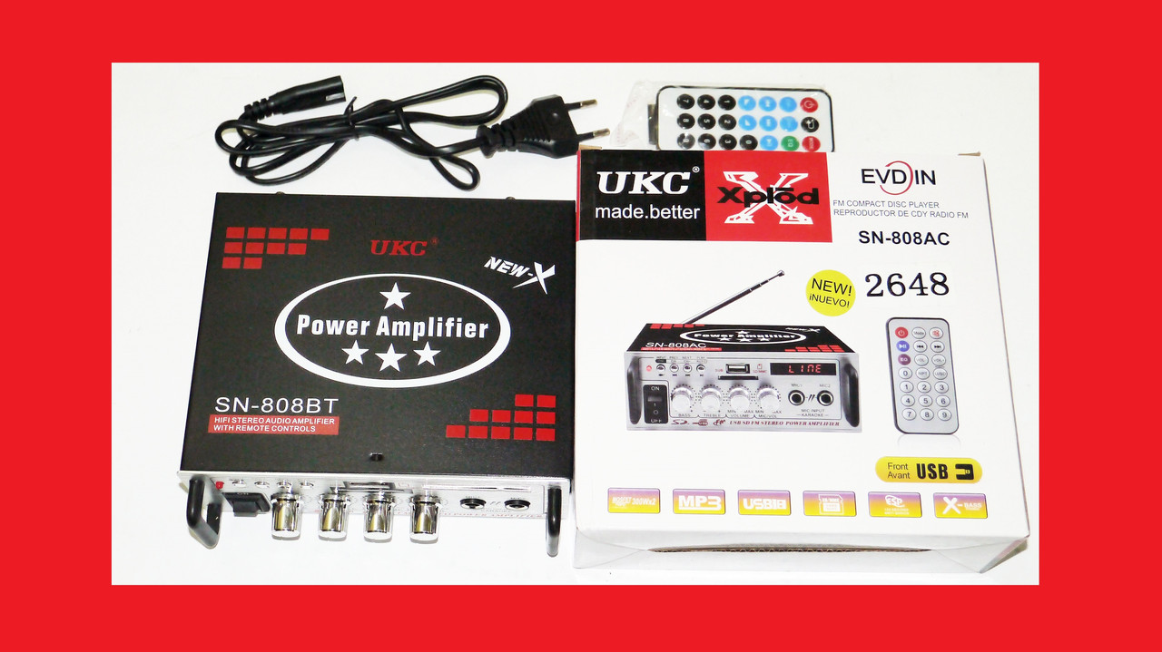 Усилитель звука Xplod UKC SN-808BT USB + SD + AUX + Bluetooth + Караоке , фото 1