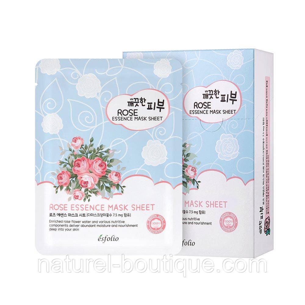 Маска тканевая для лица Esfolio Pure Skin Essence Rose  Mask Sheet с розой