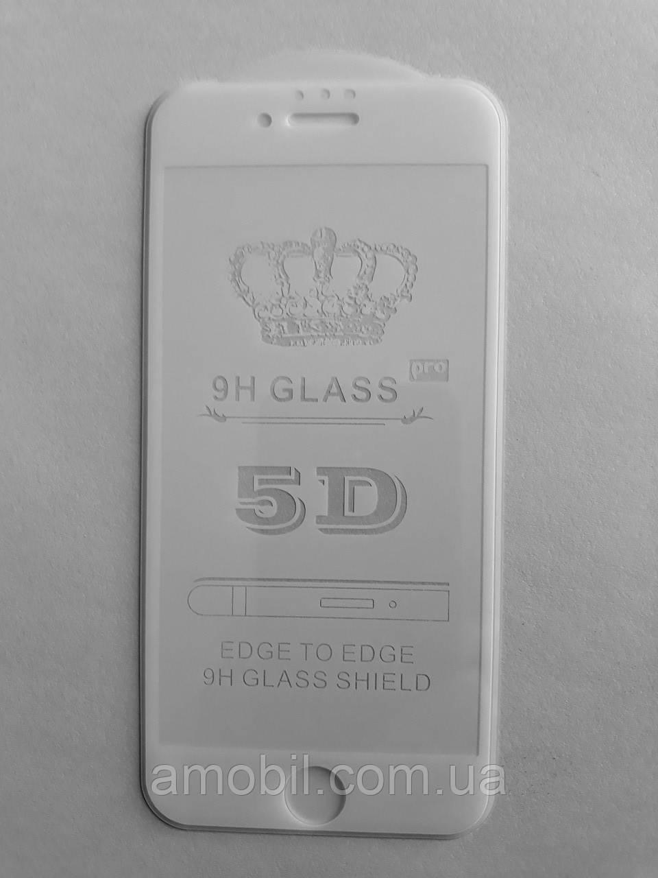 Защитное стекло 5D iPhone 6 full glue white