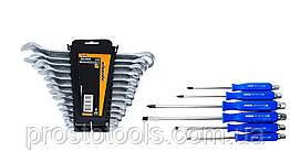 Набор комбинированных ключей 12 ед. 6-22 мм + набор комбинированных отверток 6 ед. Miol 51-710+63-475