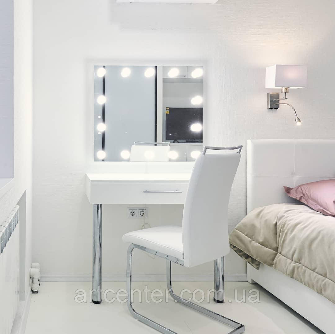 Лаконичный стол визажиста на ножках, туалетный стол с гримерным зеркалом