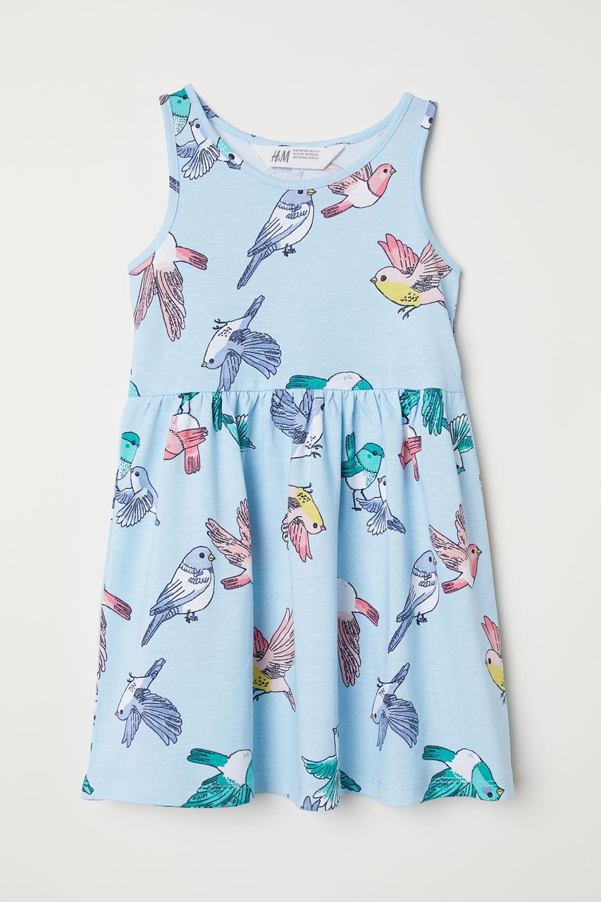 Летнее голубое платье для девочки H&M Швеция Размер 122-128