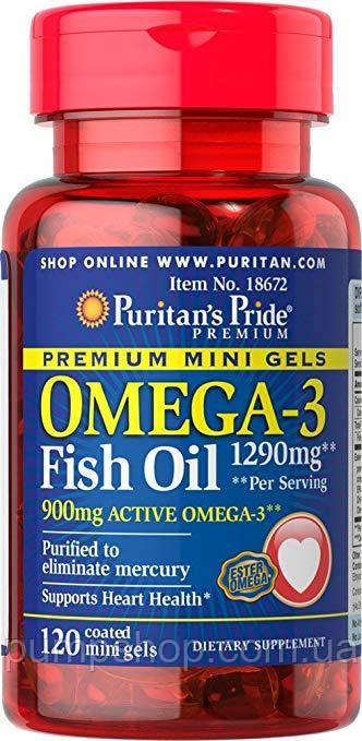 Омега-3 Puritan's Pride Omega-3 Fish Oil 645 mg Mini Gels 120 капс.
