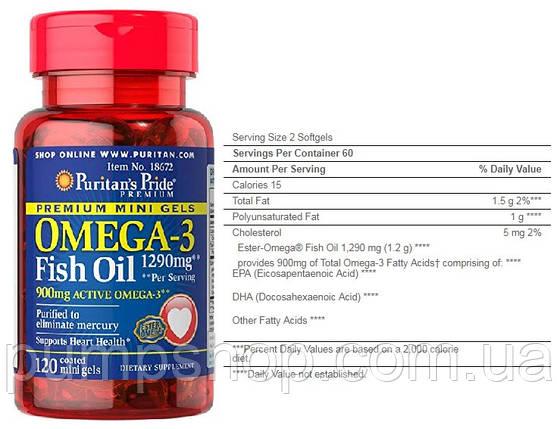 Омега-3 Puritan's Pride Omega-3 Fish Oil 645 mg Mini Gels 120 капс., фото 2