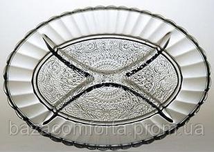 Блюдо Менажница овальная с разделителями Konya Pasabahce 260х185мм 2шт 54332/B