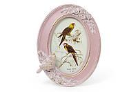 Рамка для фото овальная Птица, цвет - розовый с золотом
