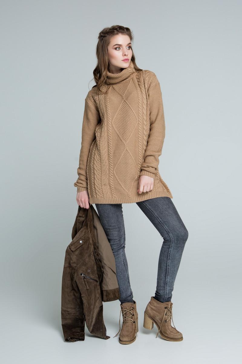 b23fb29c3fcb Женский теплый вязаный удлиненный свитер туника под горло