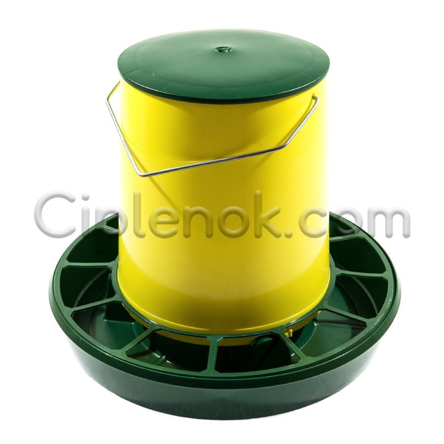 Бункерная кормушка на 6,2 л / 4,2 кг с ручкой жел-зел.