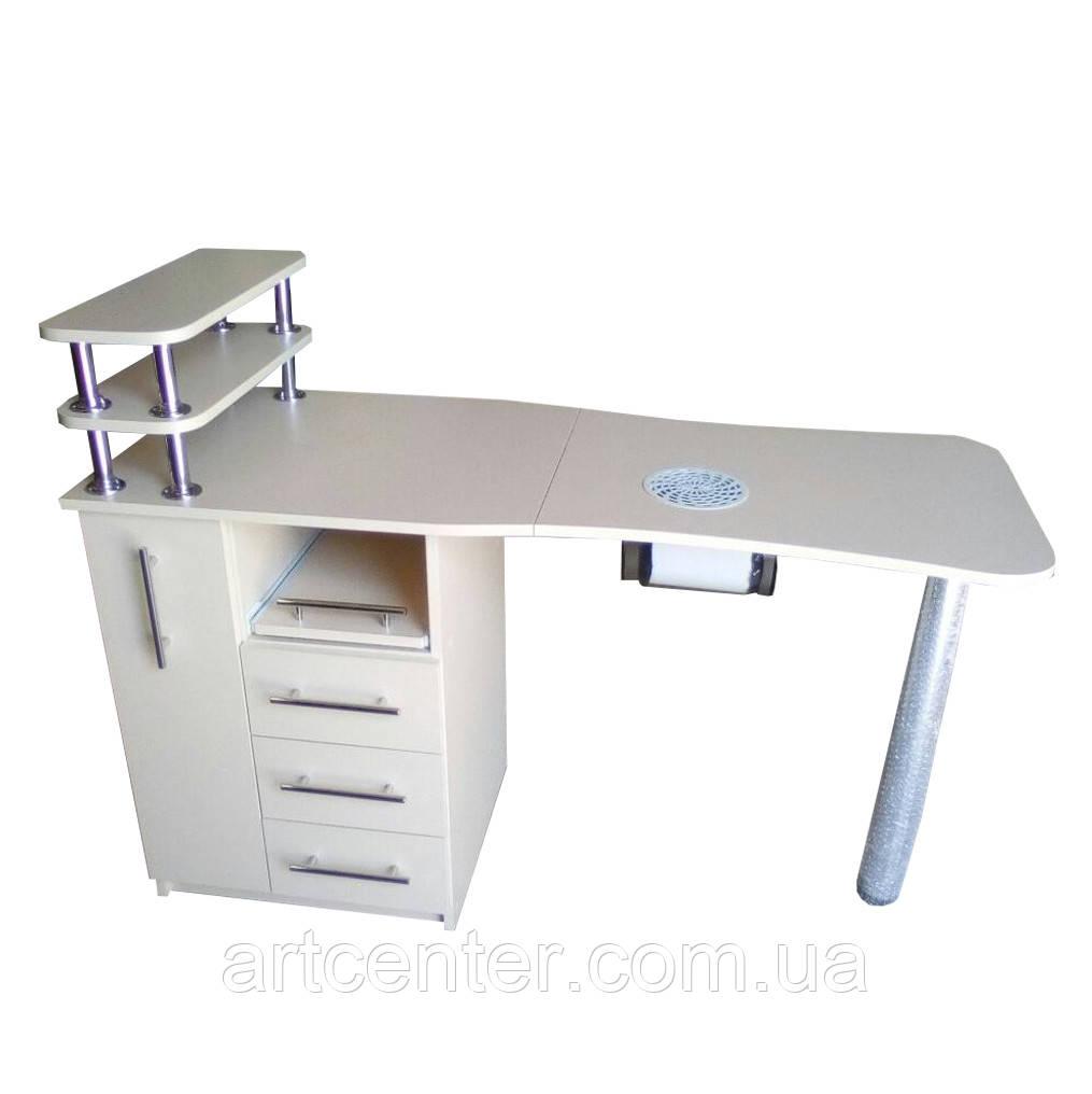 Стол для маникюра, маникюрный стол бежевый