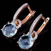 Золотые серьги (голубой топаз и фианиты)